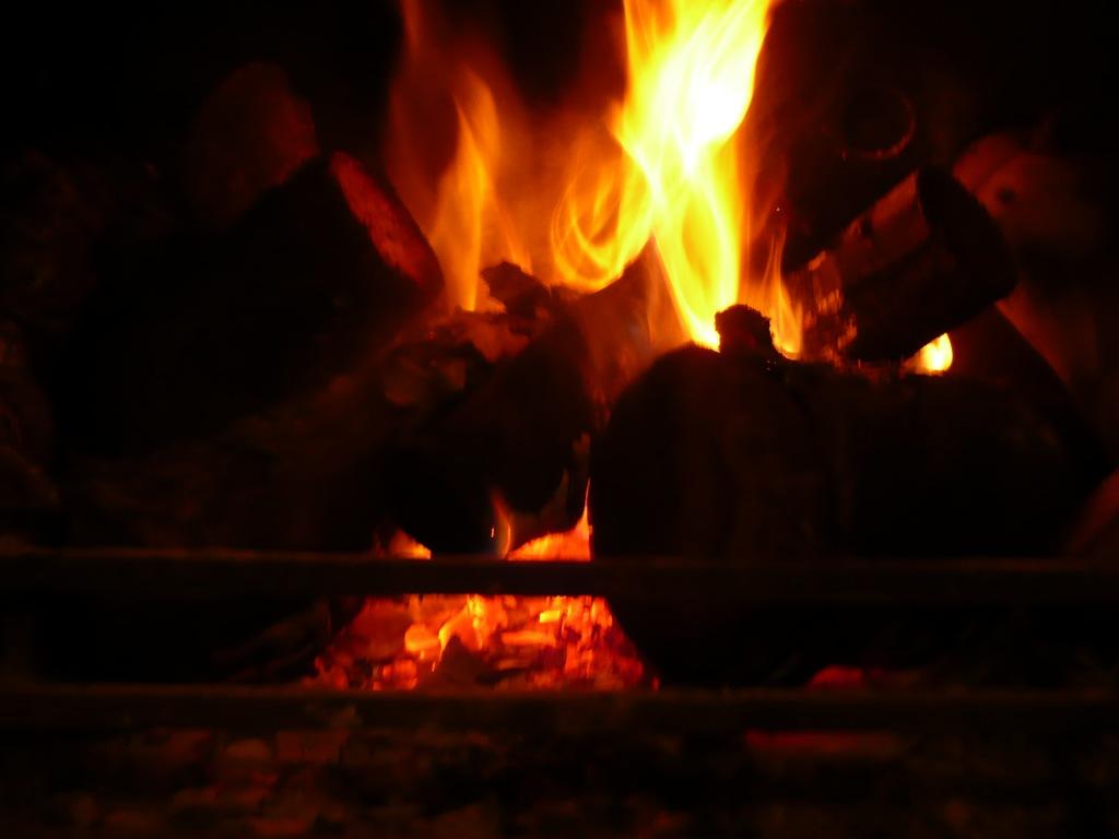 Fire in woodburning stove www.thinkingcowgirl.wordpress.com