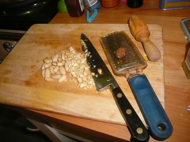 Chopped Almonds on Chopping Board  www.thinkingcowgirl.wordpress.com