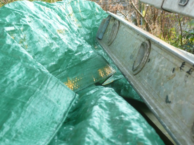 Green Plastic Tarp and Ladder