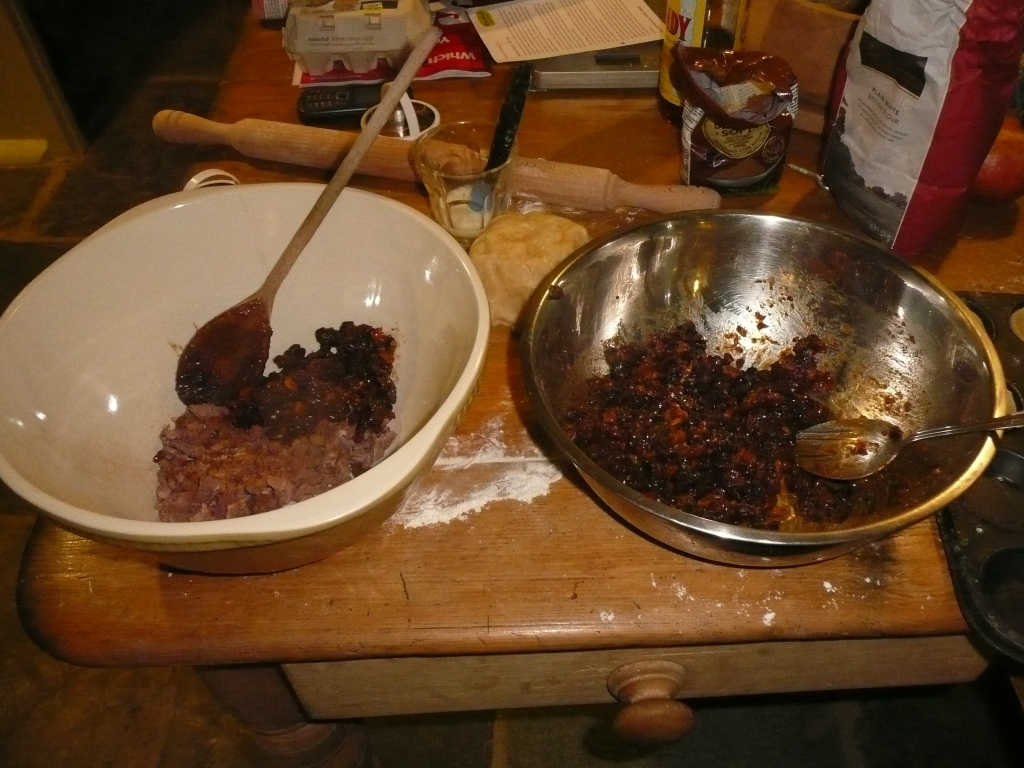 Adding the fruit mincemeat to the mutton