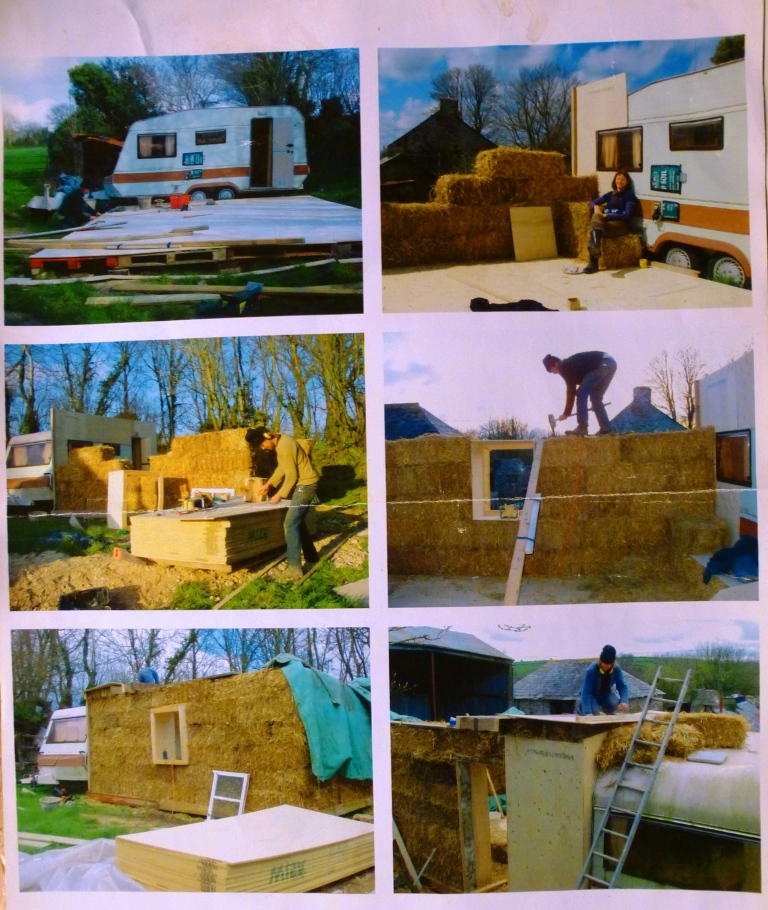 We set about building a straw bale extension onnto the caravan
