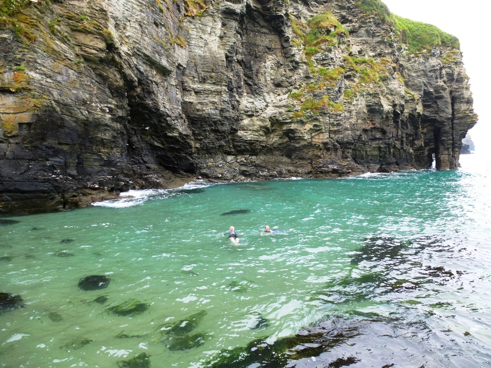 Swimming at Bossiney Haven at high tide